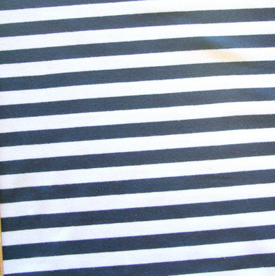 "Navy and White 3/8"" wide Stripe Cotton Lycra Knit Fabric"