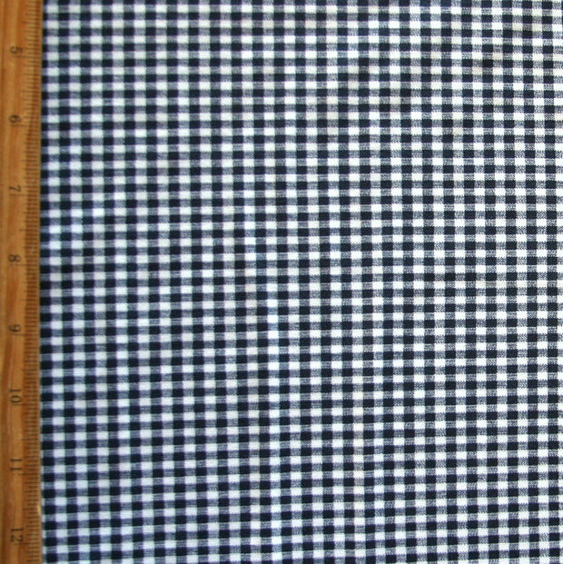 Navy and White Gingham Nylon Lycra Swimsuit Fabric