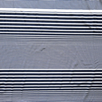 Navy and White Thick to Thin Stripes Nylon Spandex Swimsuit Fabric
