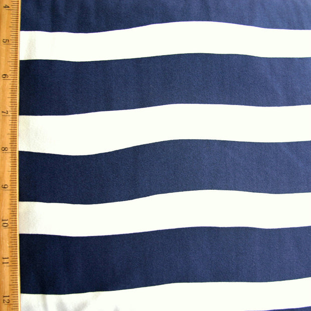 Navy and White Wavy Stripe Swimsuit Fabric