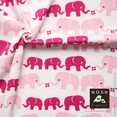 Elephants Organic Cotton Interlock Knit Fabric by Nosh Organics, Powder Pink Colorway
