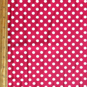 Off White Polka Dots on Cherry Red Nylon Spandex Swimsuit Fabric
