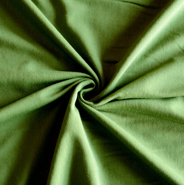 Olive Green Cotton Lycra Jersey Knit Fabric
