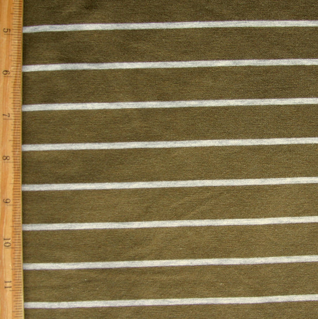 Olive/Heathered Grey Stripe Bamboo Lycra Jersey Knit Fabric