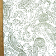 Olive Paisley on White Cotton French Terry Fabric
