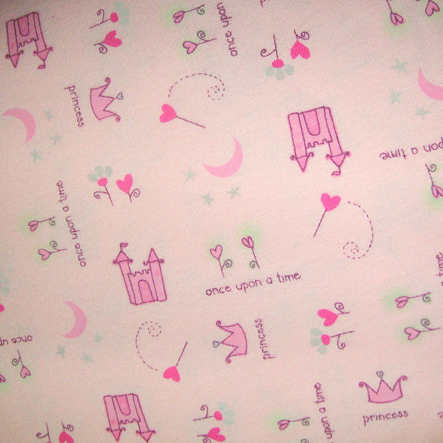 "Once Upon A Time Cotton Knit Fabric, Pink Colorway - 29"" Remnant Piece"