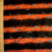 Orange and Black Stripes with Bats Cotton Knit Fabric