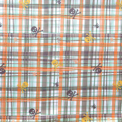 Orange, Brown, and Green Edgy Checkers with Skulls Microfiber Boardshort Fabric