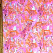 Orange/Hot Pink Abstract Nylon Spandex Swimsuit Fabric