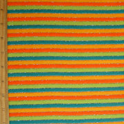 Teal, Lime Green, Orange and Light Orange Stripes with Silver Thread Cotton Velour Knit Fabric