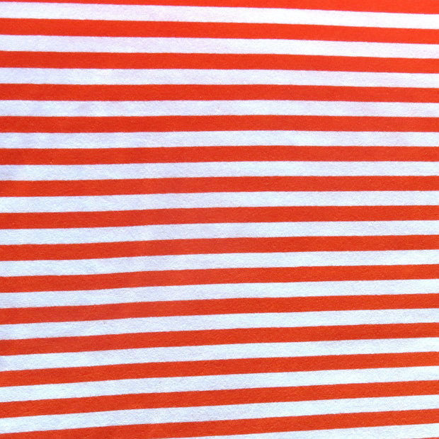"Orange and White  3/8"" wide Stripe Cotton Lycra Knit Fabric"