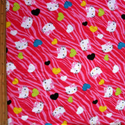 Our Favorite Kitty Hearts on Hot Pink Zebra Print Cotton Lycra Knit Fabric