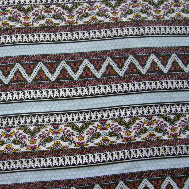Paisley Stripe Cotton Lycra Knit Fabric