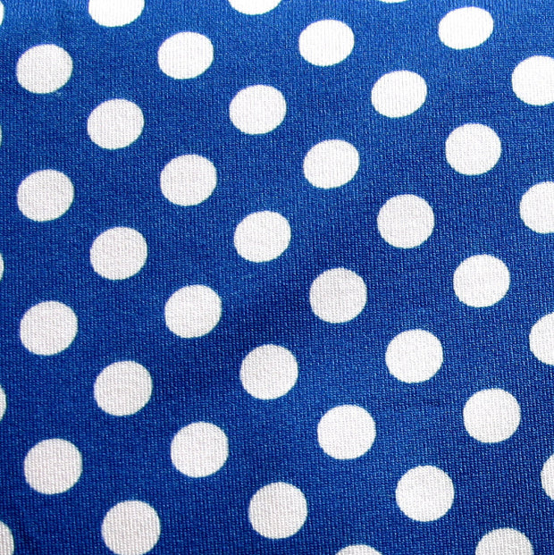Pale Pink Polka Dots on Royal Swimsuit Fabric