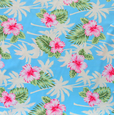 Palms and Hibiscus on Blue Microfiber Boardshort Fabric - Seconds - Not Quite Perfect