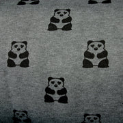 Pandas On Dark Charcoal Grey Fleece Fabric