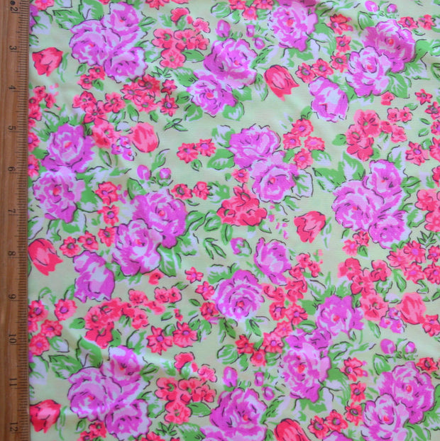 Pastel Flowers on Lime Nylon Lycra Swimsuit Fabric