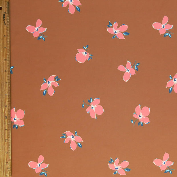 Peach Floral on Terra Cotta Nylon Spandex Swimsuit Fabric
