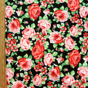 Peachy Keen Roses on Black Cotton Lycra Knit Fabric
