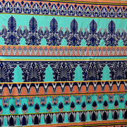 Mint, Peach, and Navy Fleur de Lis Stripe Nylon Spandex Swimsuit Fabric