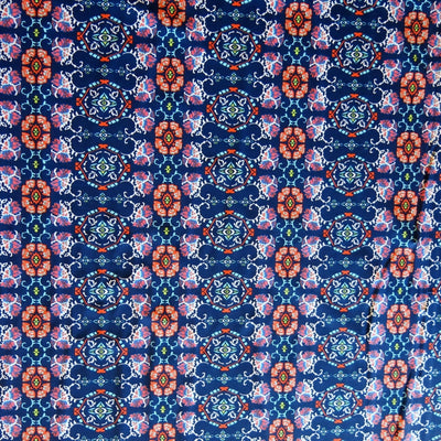 Peach/Navy Mosaic Nylon Spandex Swimsuit Fabric