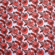 Peach, Salmon, and Burgundy Paisley on Very Light Purple Nylon Spandex Swimsuit Fabric
