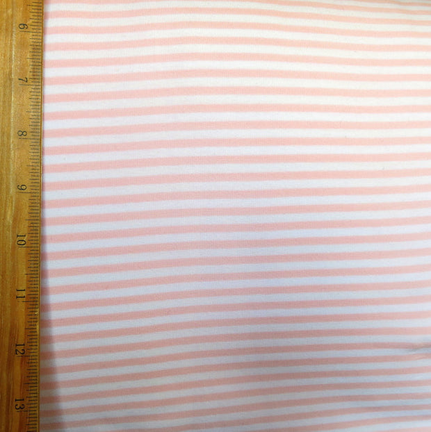 "Peach and White 1/8"" wide Stripe Cotton Lycra Knit Fabric"