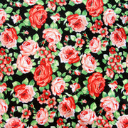 "Peachy Keen Roses on Black Cotton Lycra Knit Fabric - 34"" Remnant"