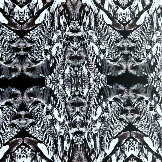 Peacock Feather Kaleidoscope Nylon Lycra Swimsuit Fabric, Grey Colorway