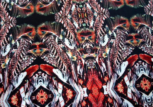 Peacock Feather Kaleidoscope Nylon Lycra Swimsuit Fabric