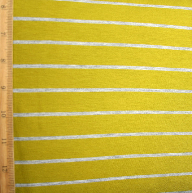 Pear/Heathered Grey Stripe Bamboo Lycra Knit Fabric