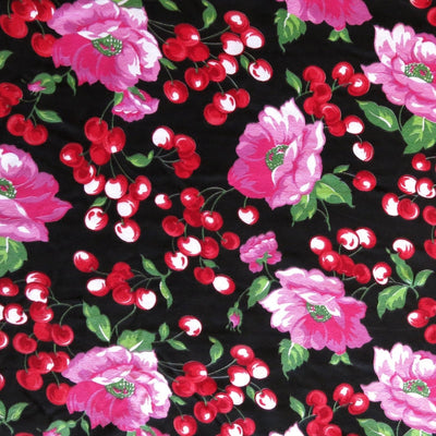 Peonies and Cherries Cotton Spandex Knit Fabric
