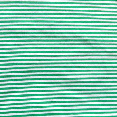 Peppermint Green and White Narrow Stripe Cotton Spandex Knit Fabric