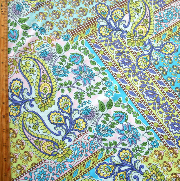 Periwinkle, Lime, and Turquoise Paisley Patchwork Nylon Lycra Swimsuit Fabric