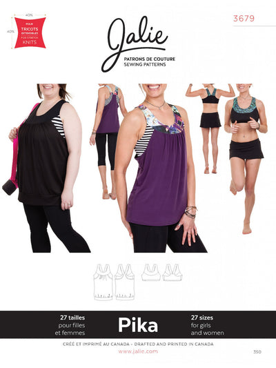 Pika Sport Bra and Layered Blouson Tank Sewing Pattern by Jalie