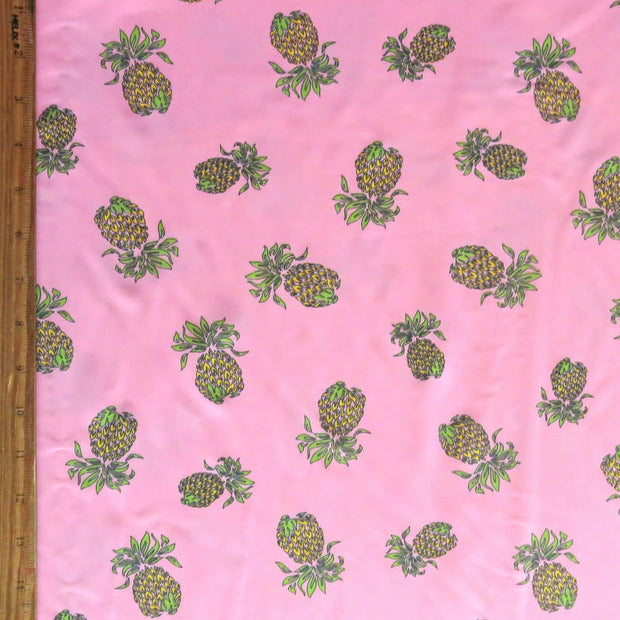 Pineapples on Pink Nylon Spandex Swimsuit Fabric