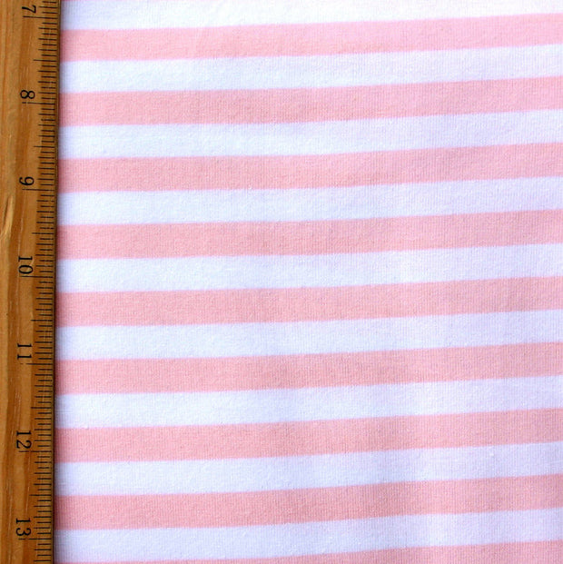 Pink and White 3/8 inch wide Stripe Cotton Lycra Knit Fabric