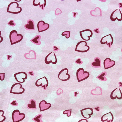 Pink and Burgundy Hearts on Light Pink Cotton Spandex Swimsuit Fabric