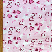Pink and Burgundy Hearts on Light Pink Cotton Spandex Knit Fabric