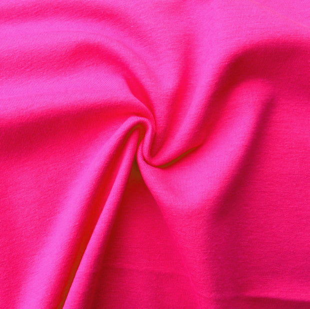 Bright Pink Cotton Lycra French Terry Fabric