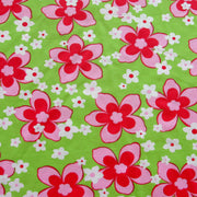 Pink Flowers on Lime Nylon Lycra Swimsuit Fabric