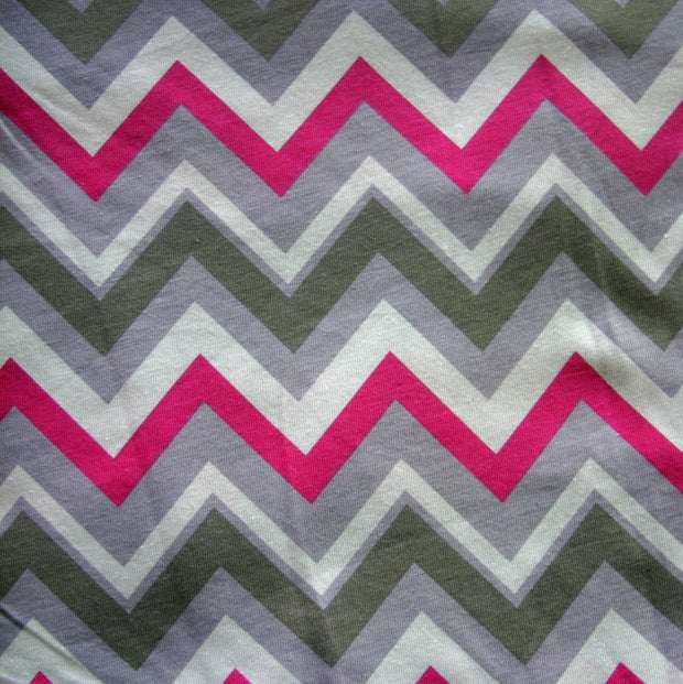 Pink, Green, and Grey Chevrons on White Jersey Knit Fabric