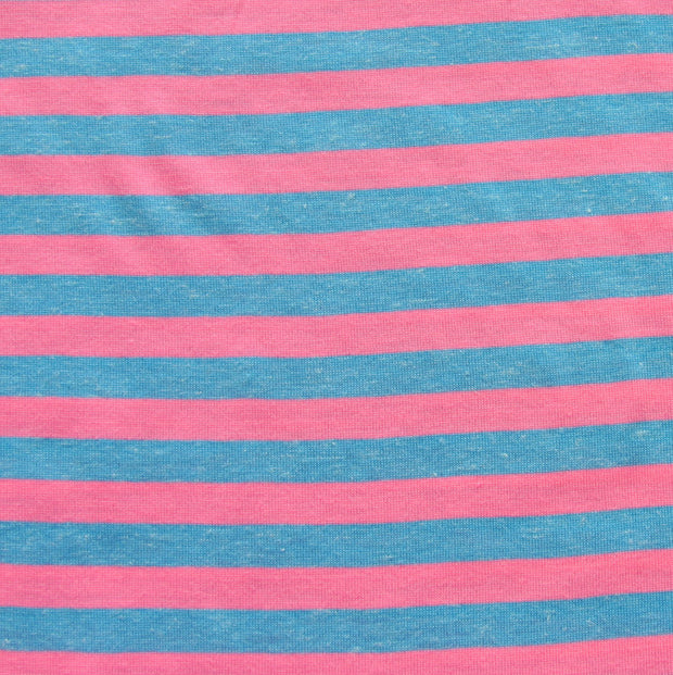 "Pink and Heathered Blue 3/8"" wide Stripe Knit Fabric"