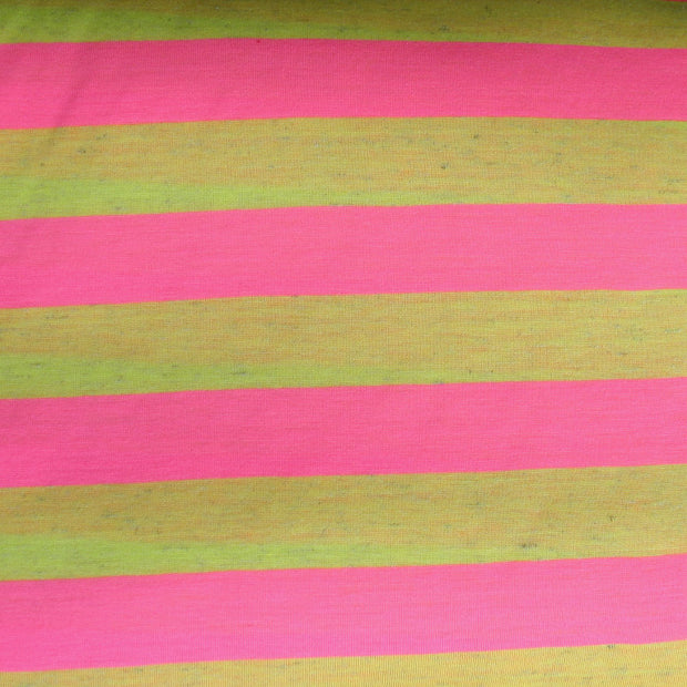 Pink and Heathered Fluorescent Yellow 1 Inch wide Stripe Knit Fabric