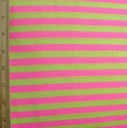 "Pink and Heathered Fluorescent Yellow 3/8"" wide Stripe Knit Fabric - 21"" Remnant"