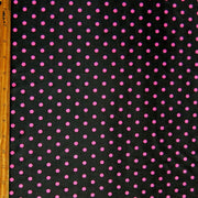 Pink Aspirin Polka Dots on Black Nylon Spandex Swimsuit Fabric