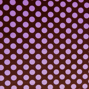 Pink Polka Dots on Brown Nylon Spandex Swimsuit Fabric