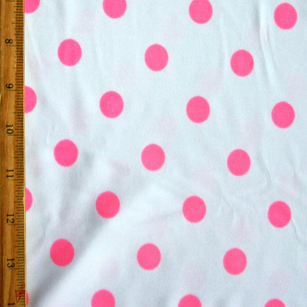 Pink Polka Dots on White Nylon Lycra Swimsuit Fabric