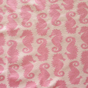 Seahorses on Pink Cotton Lycra Knit Fabric by Flaphappy
