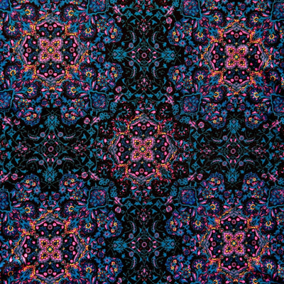 Teal, Pink, and Tangerine Paisley on Black Nylon Spandex Swimsuit Fabric